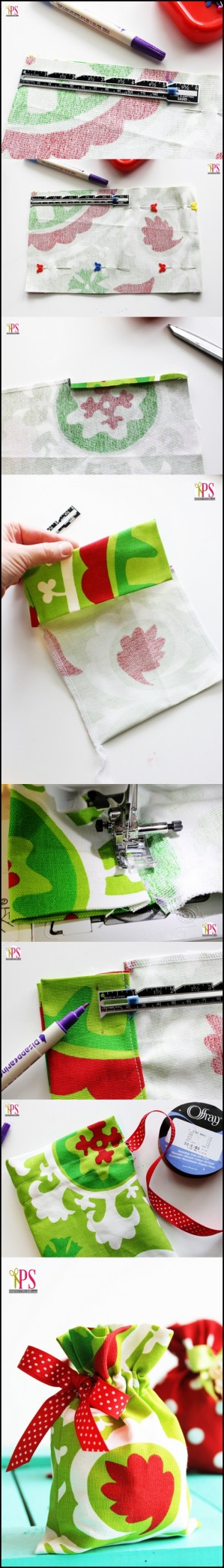 Drawstring Fabric Gift Bag Tutorial