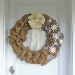 Elegant Burlap and Snowflake Wreath